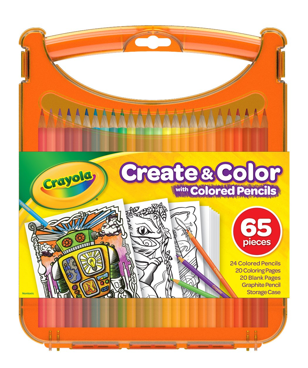 Crayola Create & Color with Colored Pencils, Travel Art Set, Great for Kids, Ages 4, 5, 6, 7, 8 by Crayola