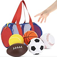 Balls for Kids, Toddler Sports Toys - Set of 5 Foam Sports Balls + Free Bag - Perfect for Small Hands to Grab - Ball…