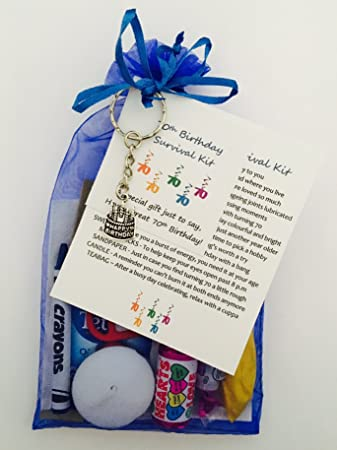 70th Birthday Survival Gift Kit Fun Happy Present For Him Her Choose From Lilac Or Blue Royal Amazoncouk Office Products