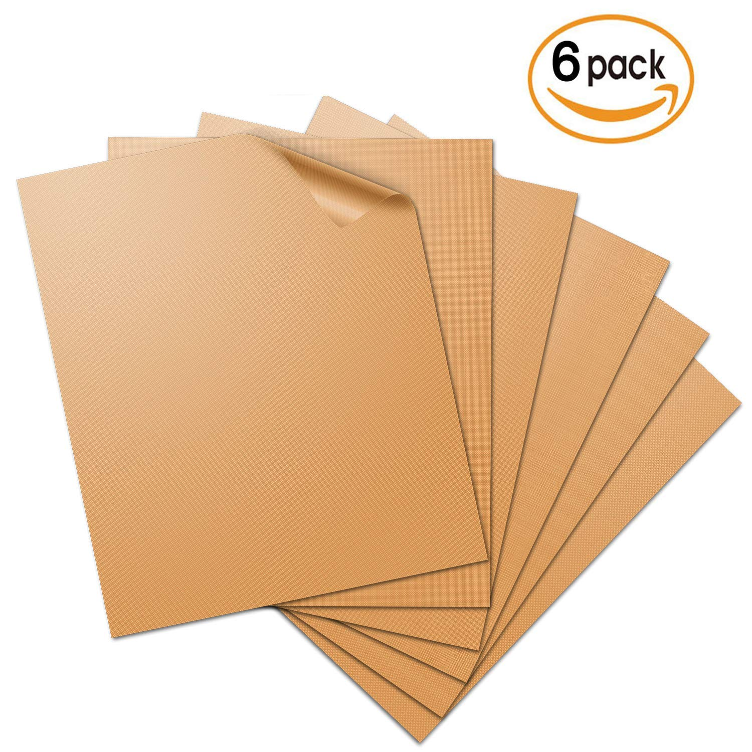 Aquablessing Copper Grill Mat 6 Set 15.75x13''| Non-Stick, Durable, Washable & PFOA Free | For Baking, Grilling, BBQ, Charcoal, Electric, Gas, Oven, Outdoors, Meat, Veggies, Pizza, Cookies & More sdk2017006