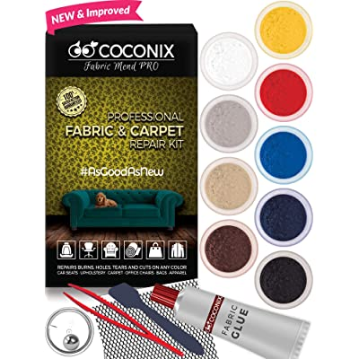 Coconix Fabric and Carpet Repair Kit - Repairer of Your Car Seat, Couch, Furniture, Upholstery or Jacket - Fixes Cigarette Burn Holes, Tear or Rips. Super Easy Instructions to Match Any Color, Pattern: Automotive