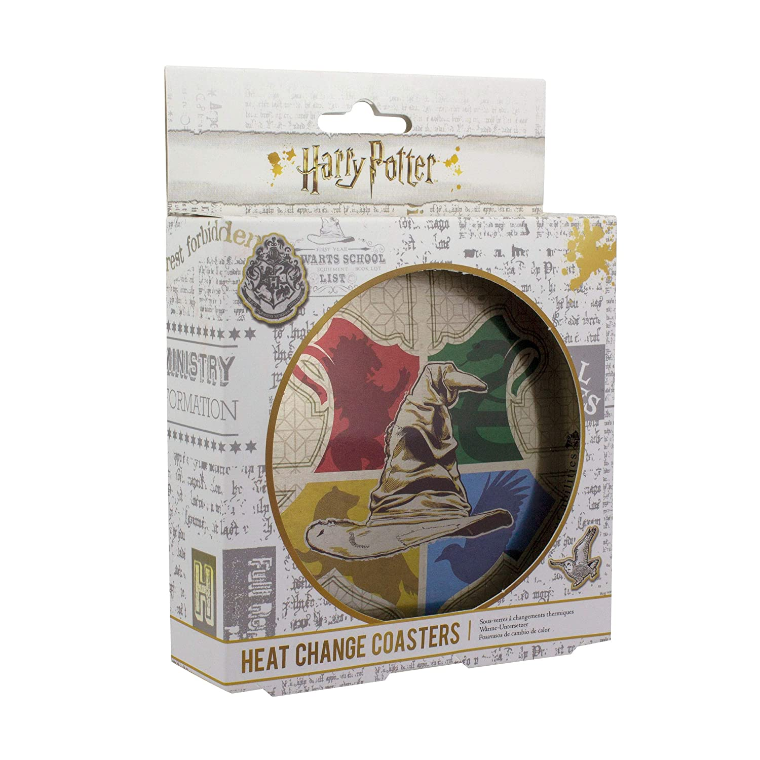 Paladone Sorting Hat Heat Change Coasters - Harry Potter Hogwarts House Item