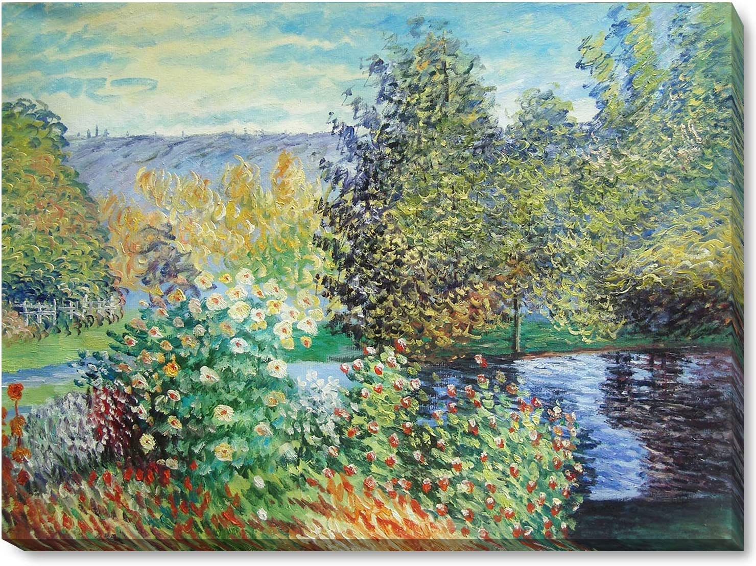 """La Pastiche Corner of the Garden at Montgeron with Gallery Wrap Framed Oil Painting, 38"""" x 28"""", Multi-Color"""
