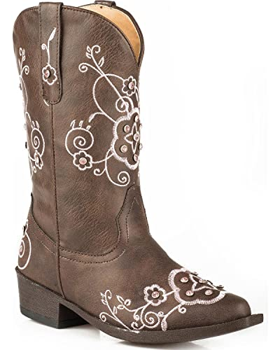 low priced top-rated authentic color brilliancy ROPER Girls' Flower Sparkles Western Boot Pointed Toe Brown 10 D