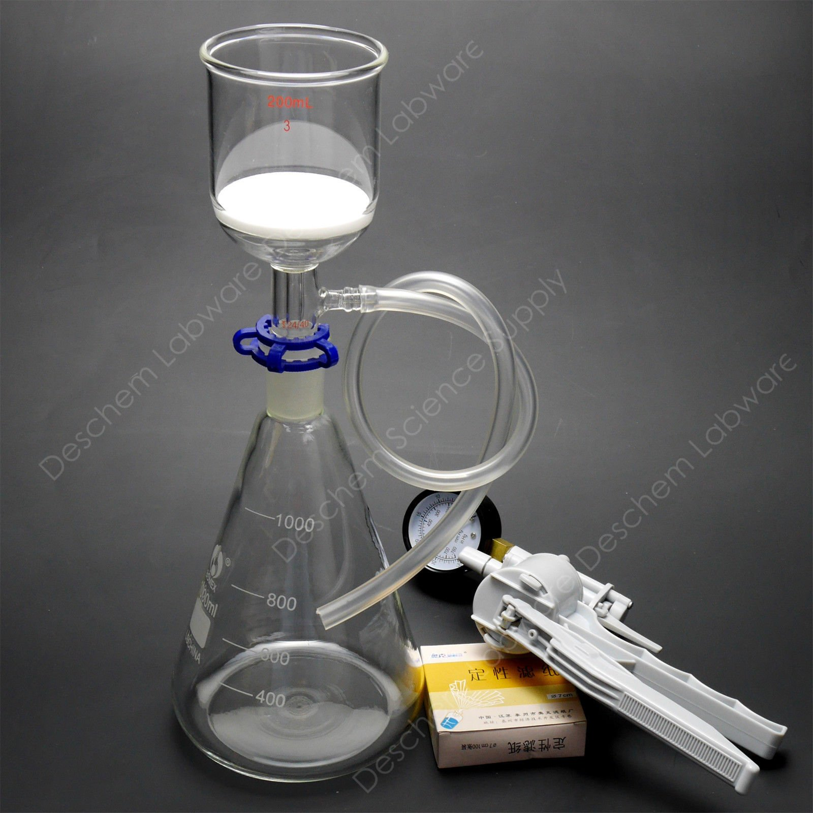 Deschem 1000ml,Lab Suction Apparatus,200ml Funnel,1L Flask,W/Vacuum Pump & Filter Paper