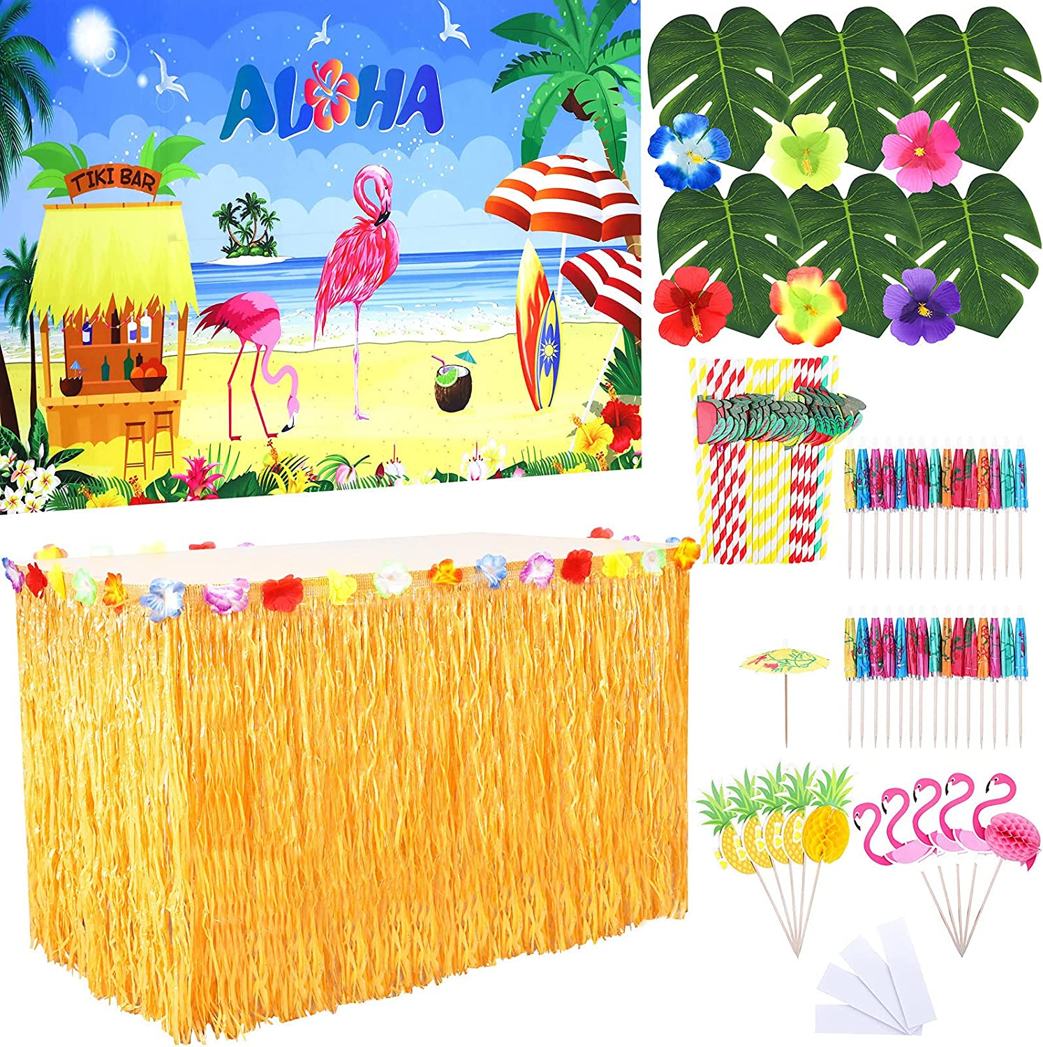 Elcoho 78 Pieces Straw Color Hawaiian Party Decorations Set Tropical Party Decor Kit Grass Table Skirts Including Palm Leaves for Theme Luau Tropical Party Supplies