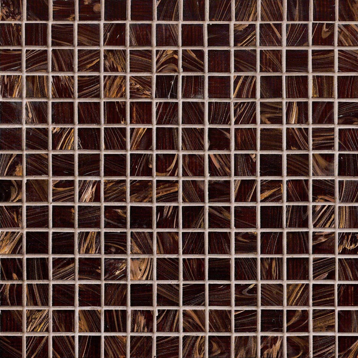 3/4'' x 3/4'' Glass Glossy Mosaic in Brown Iridescent