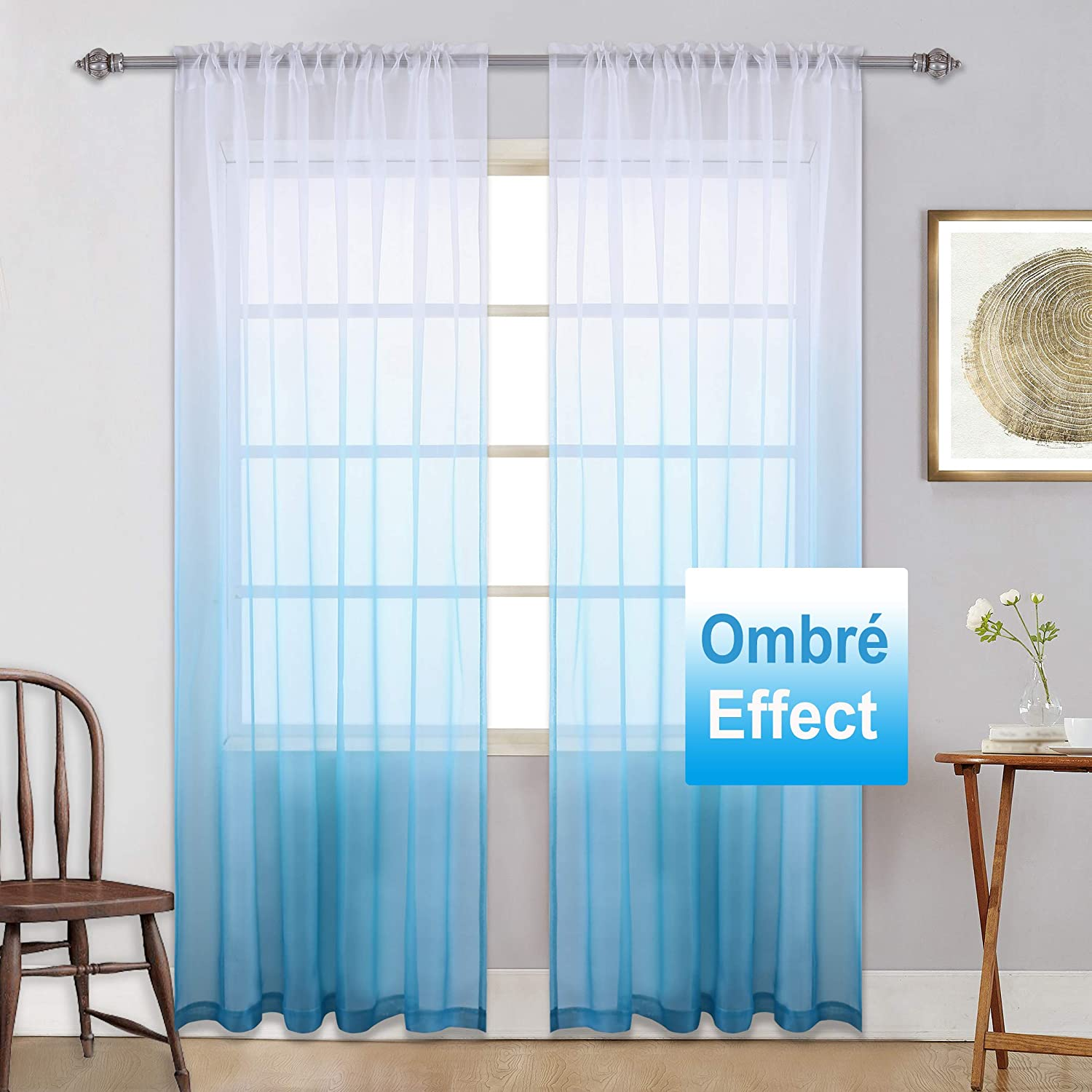 Ombre Curtains Blue Sheer Curtains - Gradient Girls Bedroom Semi Sheer  Curtain Set Window Voile Panel Curtain for Girls Room/Closet/Kids Teenage  ...