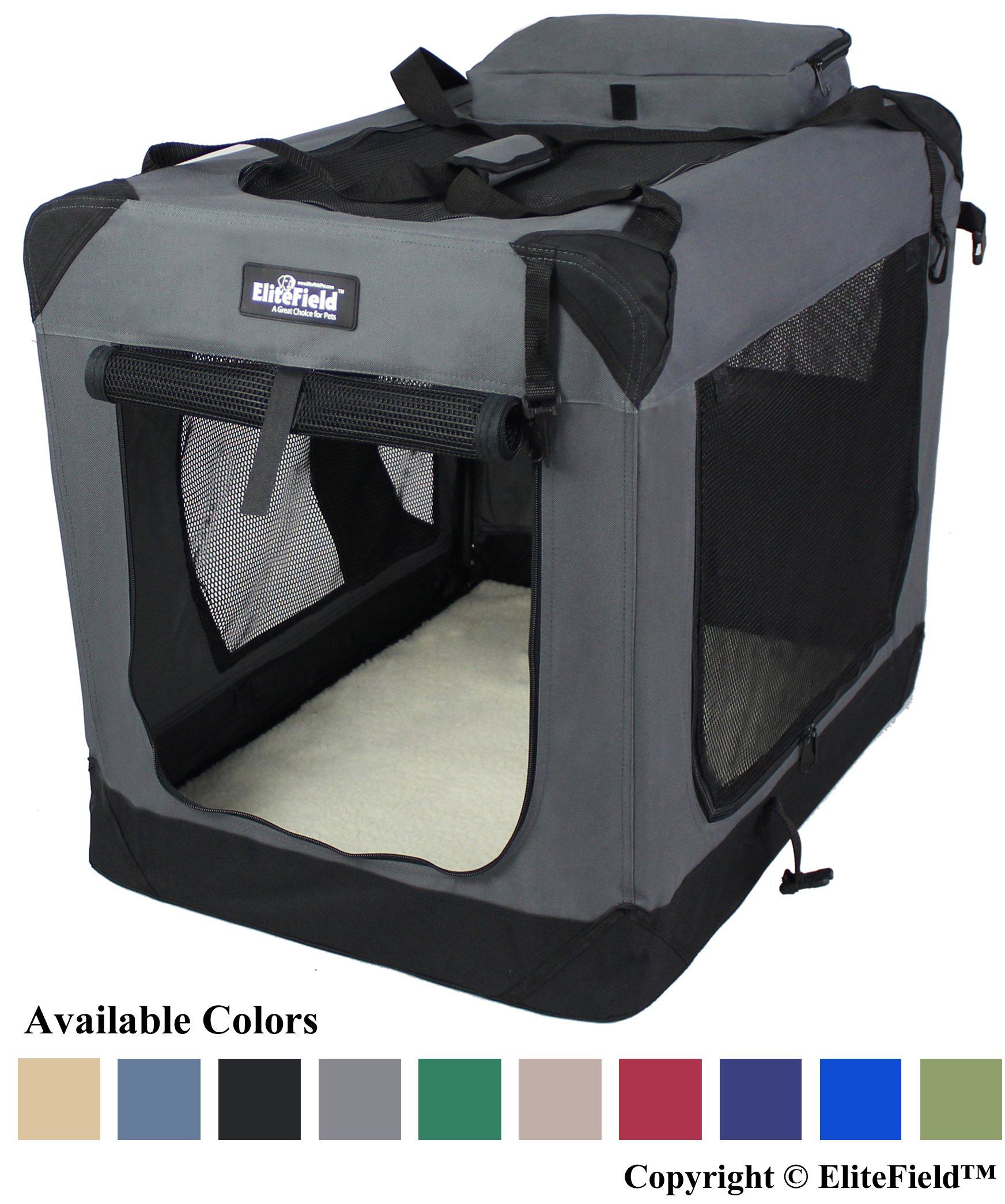 EliteField 3-Door Folding Soft Dog Crate, Indoor & Outdoor Pet Home, Multiple Sizes and Colors Available (36'' L x 24'' W x 28'' H, Gray) by EliteField