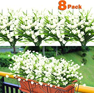 8PCS Artificial Flowers Outdoor UV Resistant Plants, 8 Branches Faux Plastic Corn-flower Greenery Shrubs Plants Indoor Outside Hanging Planter Kitchen Home Wedding Office Garden Decor (White)