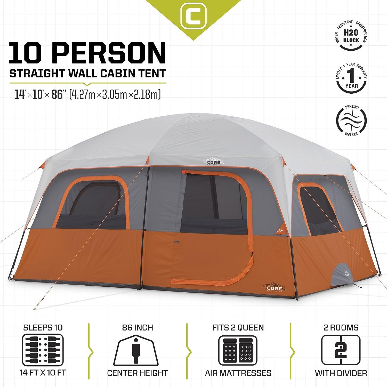 Amazon.com  CORE 10 Person Straight Wall Cabin Tent - 14u0027 x 10u0027  Sports u0026 Outdoors  sc 1 st  Amazon.com & Amazon.com : CORE 10 Person Straight Wall Cabin Tent - 14u0027 x 10 ...