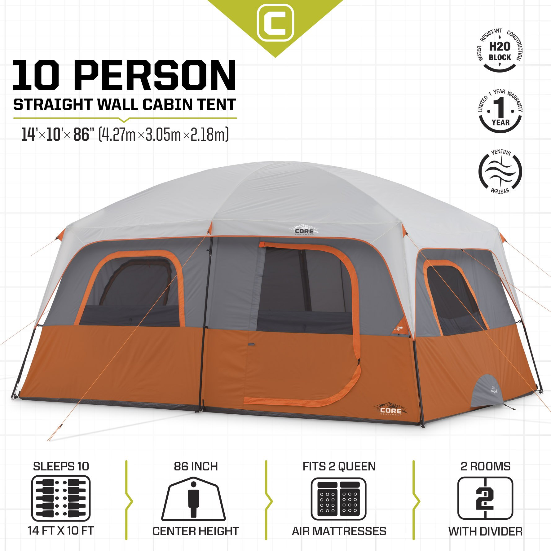 CORE 10 Person Straight Wall Cabin Tent - 14' x 10' by CORE (Image #3)