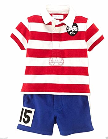 32eb81cdf Image Unavailable. Image not available for. Color  Ralph Lauren Polo Baby  Boys Rugby Shirt   Mesh Shorts ...