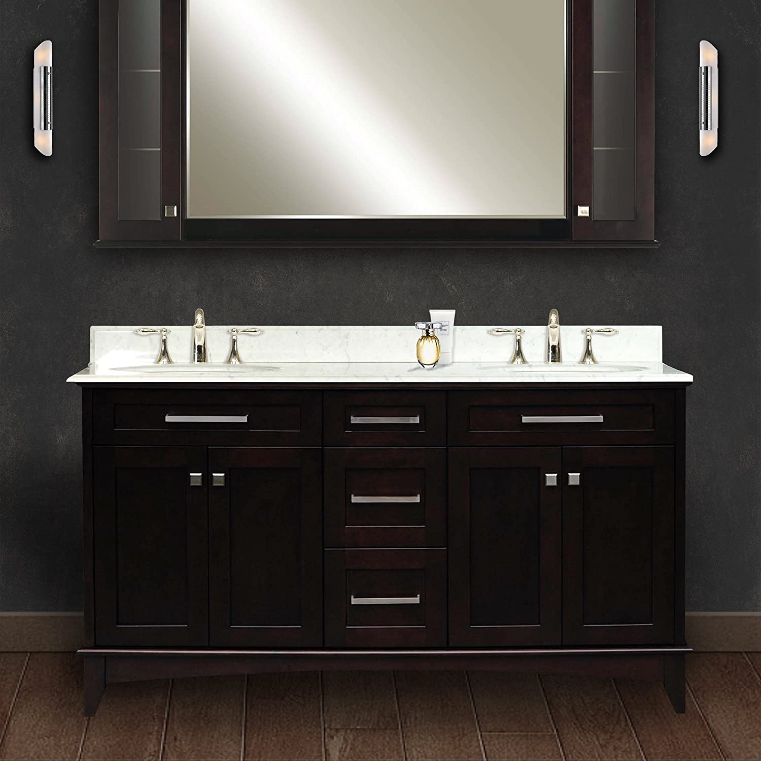 Water Creation MANHATTAN60 Manhattan Collection 60 Inch (61 Inch With  Countertop) Double Sink Bathroom Vanity Set     Amazon.com
