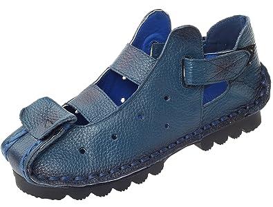 Vogstyle Damen Neu Weinlese Handgemachtes Echtes Leder Ebene Schuhe Art 1 Rot EU40/CH41 Fry7qMt