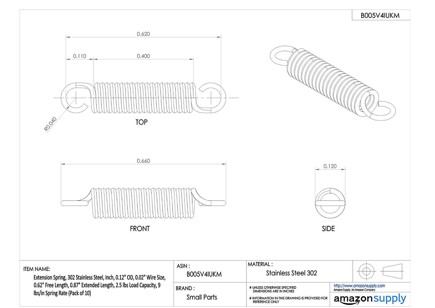 Extension Spring 12.58 lbs//in Spring Rate Inch Pack of 10 0.68 Extended Length 0.12 OD 0.5 Free Length 2.5 lbs Load Capacity 302 Stainless Steel 0.02 Wire Size
