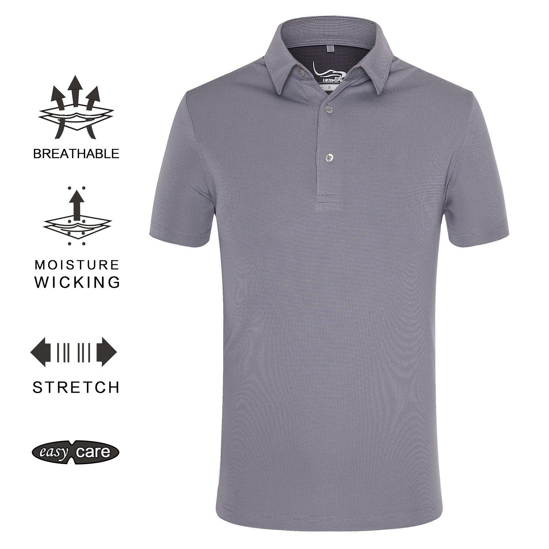 EAGEGOF Regular Fit Men's Golf Polo Shirt Quick Dri Short Sleeve Fashion Classic Style(Grey L)