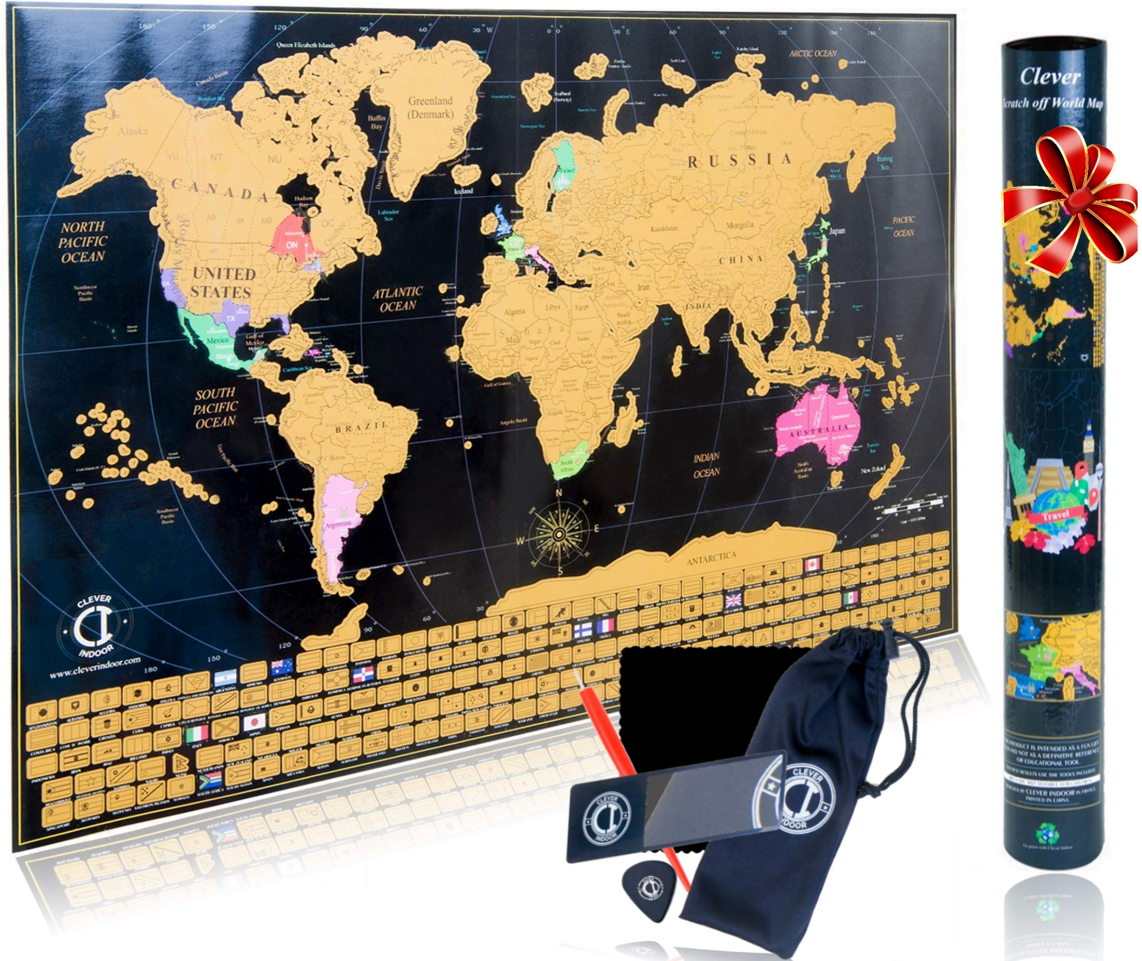 Scratch Off Map of The World Poster - Travel Map Tracker with US States Outlined and Country Flags, Bright and Vibrant Colors. Perfect Traveler Gift. Includes Scratcher Tools. by Clever Indoor.