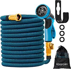 ROSFORU 50FT Expandable Garden Hose Water Hose Pipe with 10 Functions Spray Nozzle, Flexible Water Hose, 3/4'' Solid Brass Fittings 3-Layers Latex Leakproof Yard Hose for Washing and Watering