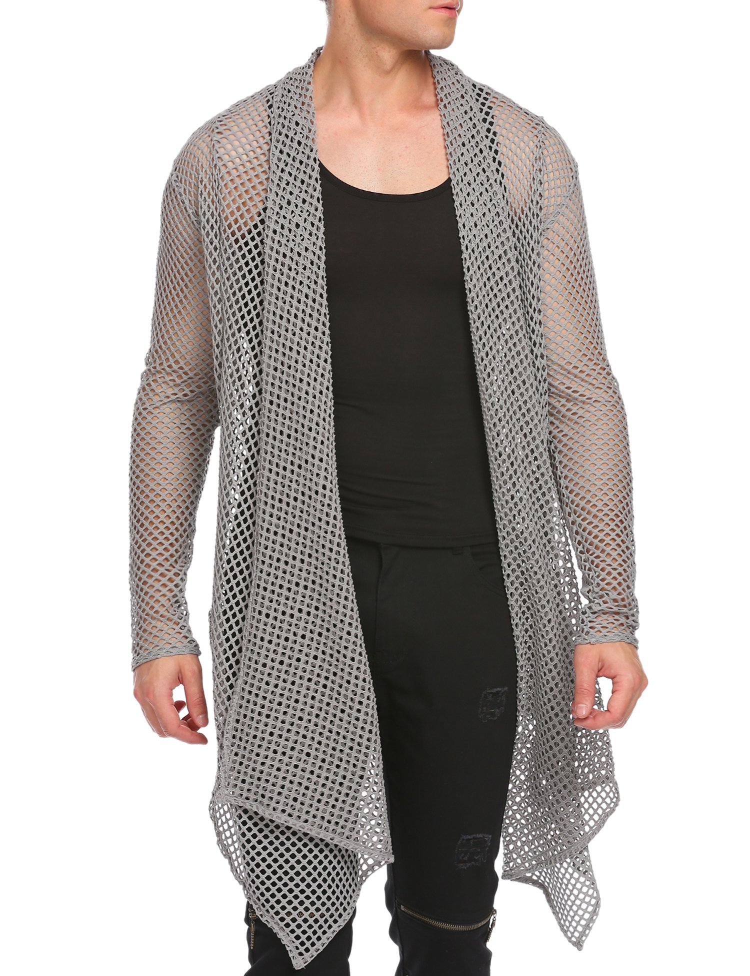 Coofandy Men's Ruffle Shawl Collar Sleeveless Long Cardigan Vest (Medium, Grey(Long Sleeve Net))