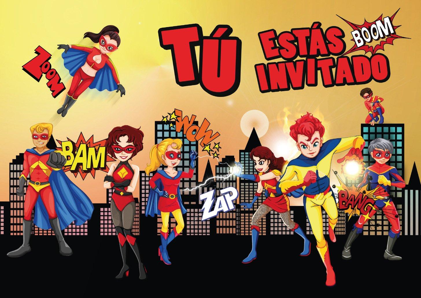 """Edition Colibri 10 Invitaciones en español """"Superheroes"""": Juego DE 10 Invitaciones para el Cumpleaños Infantil del Súper-Héroe para Súper-Chicos o Súper-Chicas (10963 ES)"""