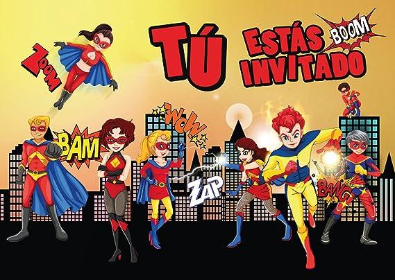 """Edition Colibri 10 Invitaciones en español """"Superheroes"""": Juego de 10 Invitaciones para el cumpleaños Infantil del súper-héroe para súper-Chicos o ..."""