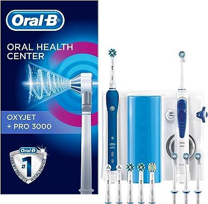 Oral-b pro 3000 kit per l'igiene orale spazzolino elettrico e idropulsore oxyjet con 4 testine 4210201139874