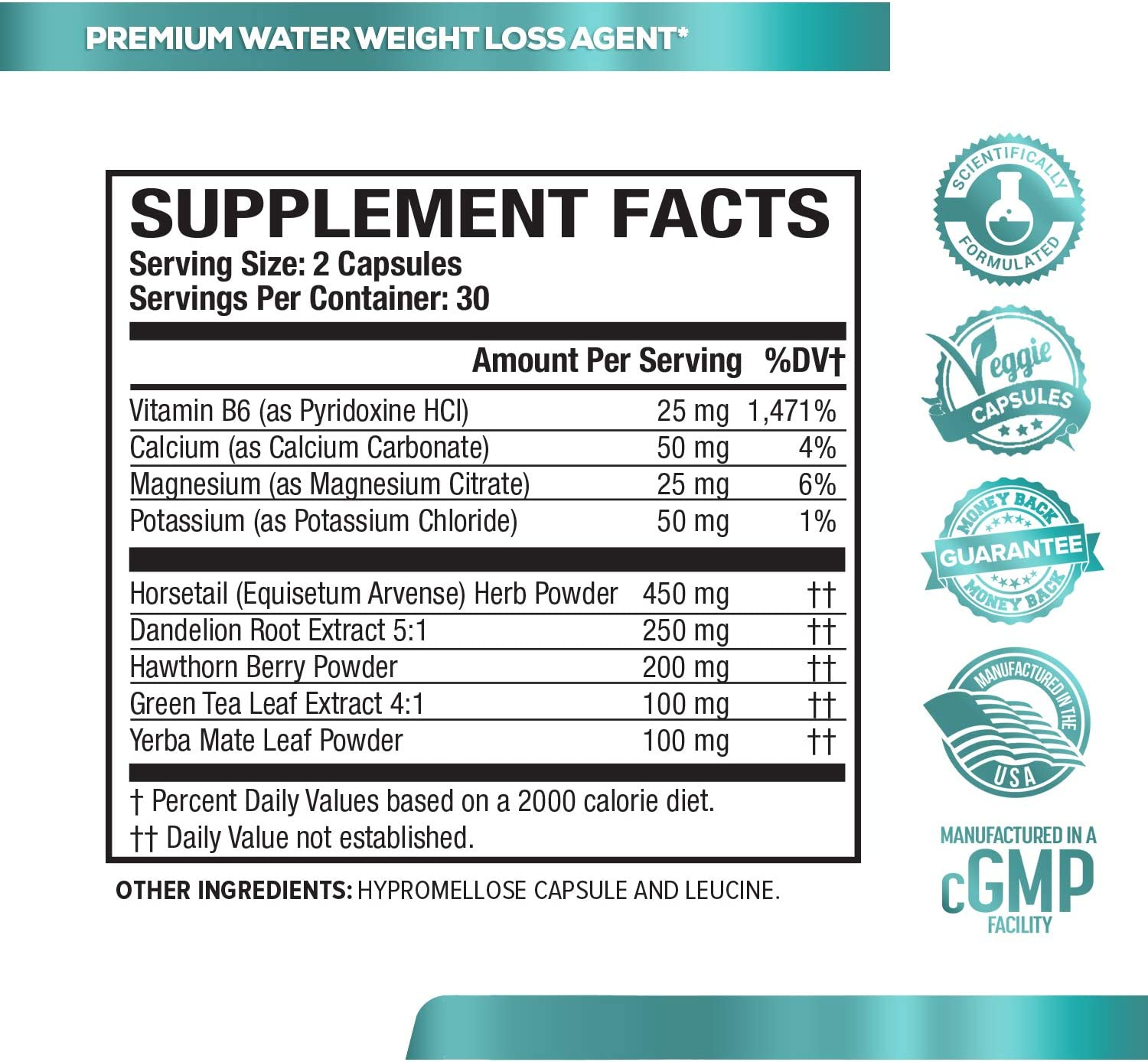 Dry-XT Water Weight Loss Diuretic Pills - Natural Supplement for Reducing Water Retention & Bloating Relief w/Dandelion Root Extract, Potassium, 7 More Powerful Ingredients - 60 Veggie Capsules