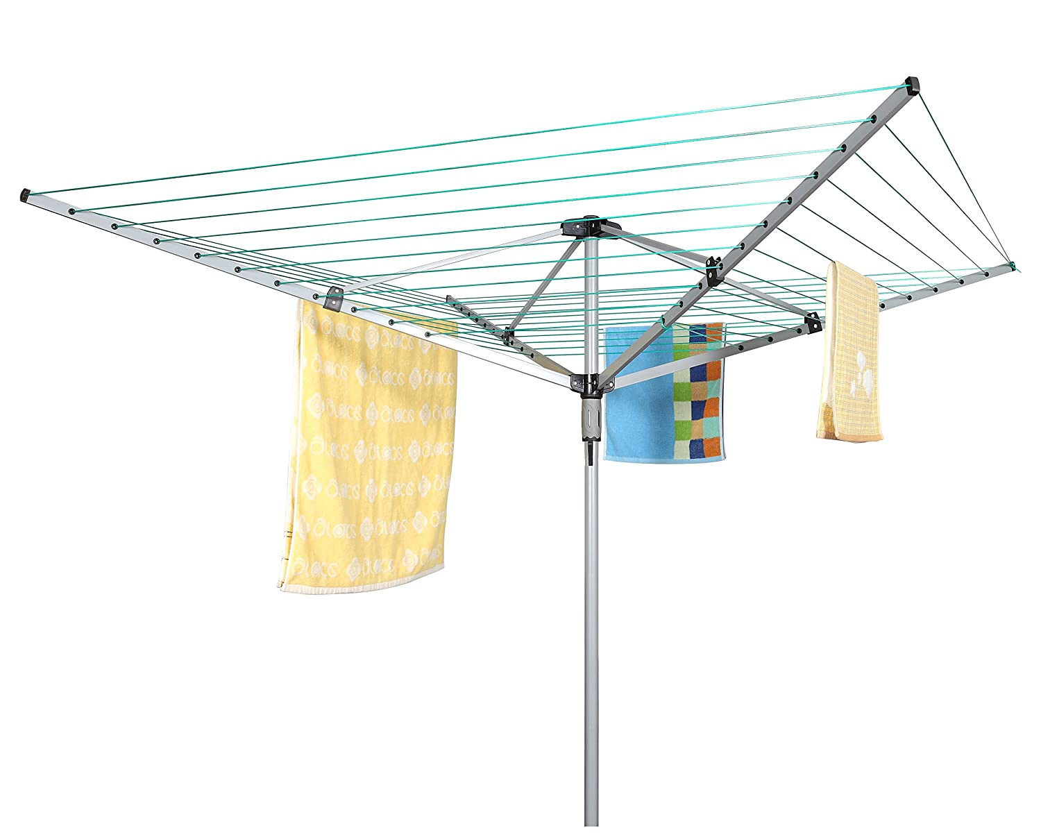 Dryer Washing Line w// Metal Ground Spike /& Water Proof Cover by FunkyBuys FunkyBuys/Â/® 50M Heavy Duty 4 Arm Outdoor Rotary Clothes Airer