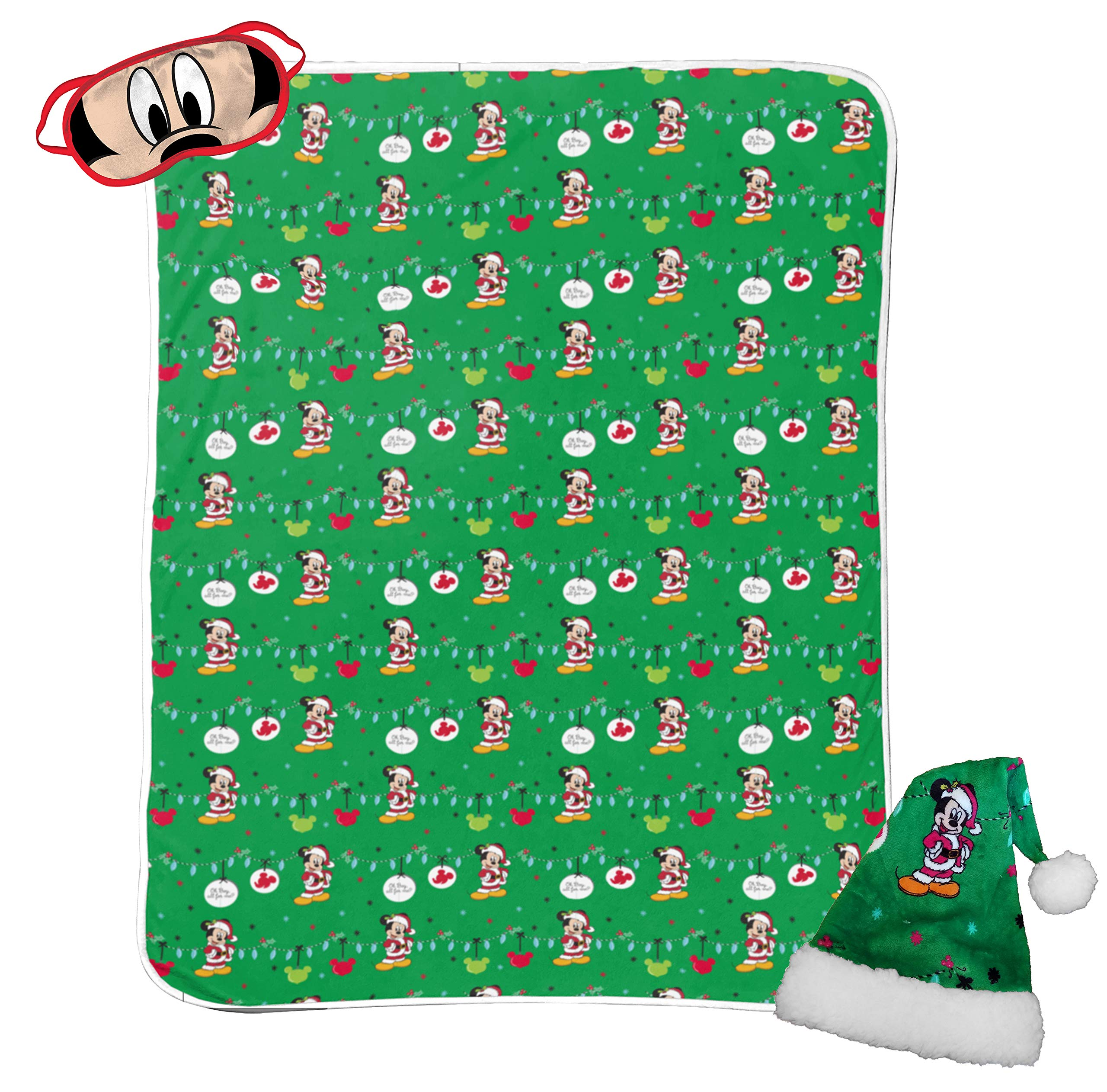 Jay Franco Disney Mickey Mouse 3 Piece Holiday Set - Kids Christmas Bedding, Super Soft Sherpa Throw Blanket & Eye Mask with Bonus Santa Hat (Official Disney Product) by Jay Franco