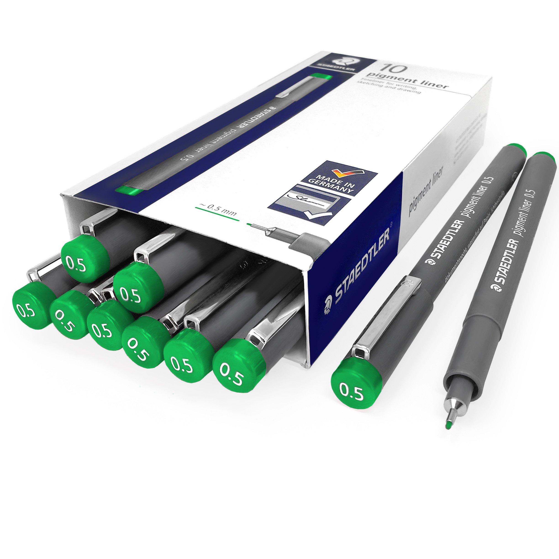 Staedtler 308 Pigment Liner Fineliner - 0.5mm - Pack of 10 - Green