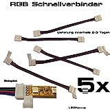 5x LED SMD RGB Schnell Verbinder Kabel Connector Adapter 4 Pin Stecker für 12mm Streifen