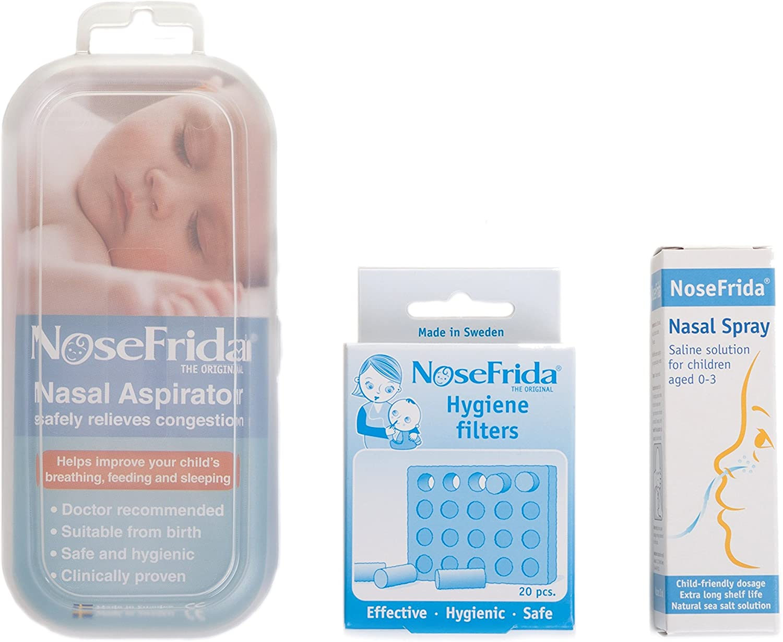 Nosefrida - Pack con 1 aspirador nasal, un spray nasal y unos filtros de repuesto para el aspirador.: Amazon.es: Bebé