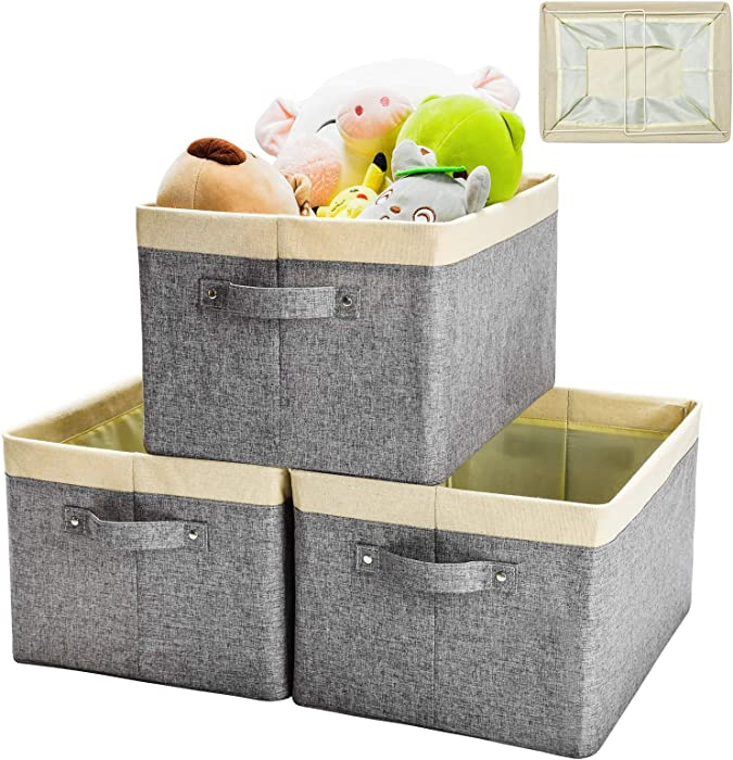 HOUSE AGAIN 3pcs Freestanding Stackable Storage Baskets, NO Wrinkles, Sturdy & Foldable Canvas Storage Bins/Boxes with 2 Handles for Organizing Shelf Closet of Home, Office, Nursery