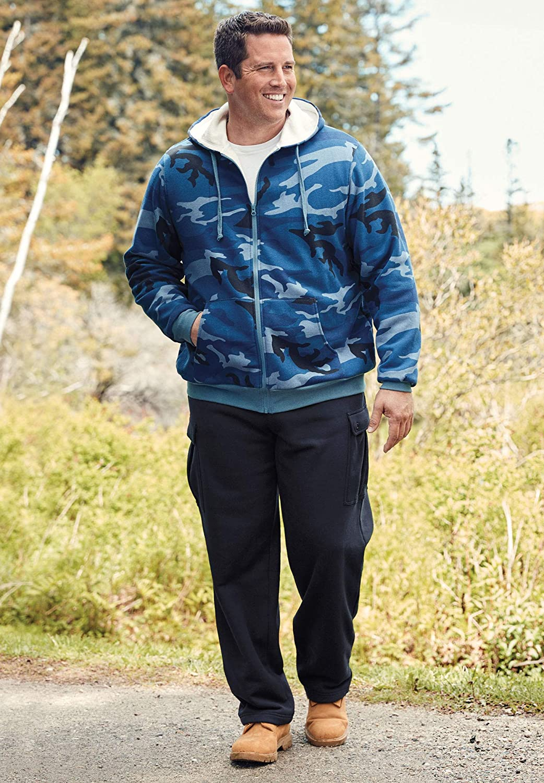 Boulder Creek Mens Big /& Tall Full-Zip Thermal Hoodie
