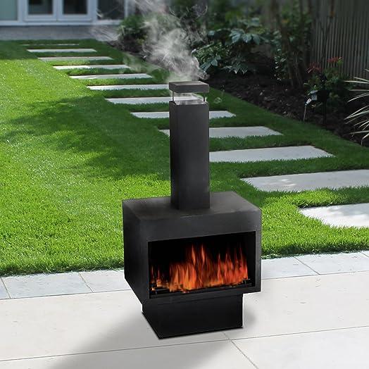 Outdoor Fire Pit Metal Chiminea Log Wood Burner Garden Patio Heater  Fireplace