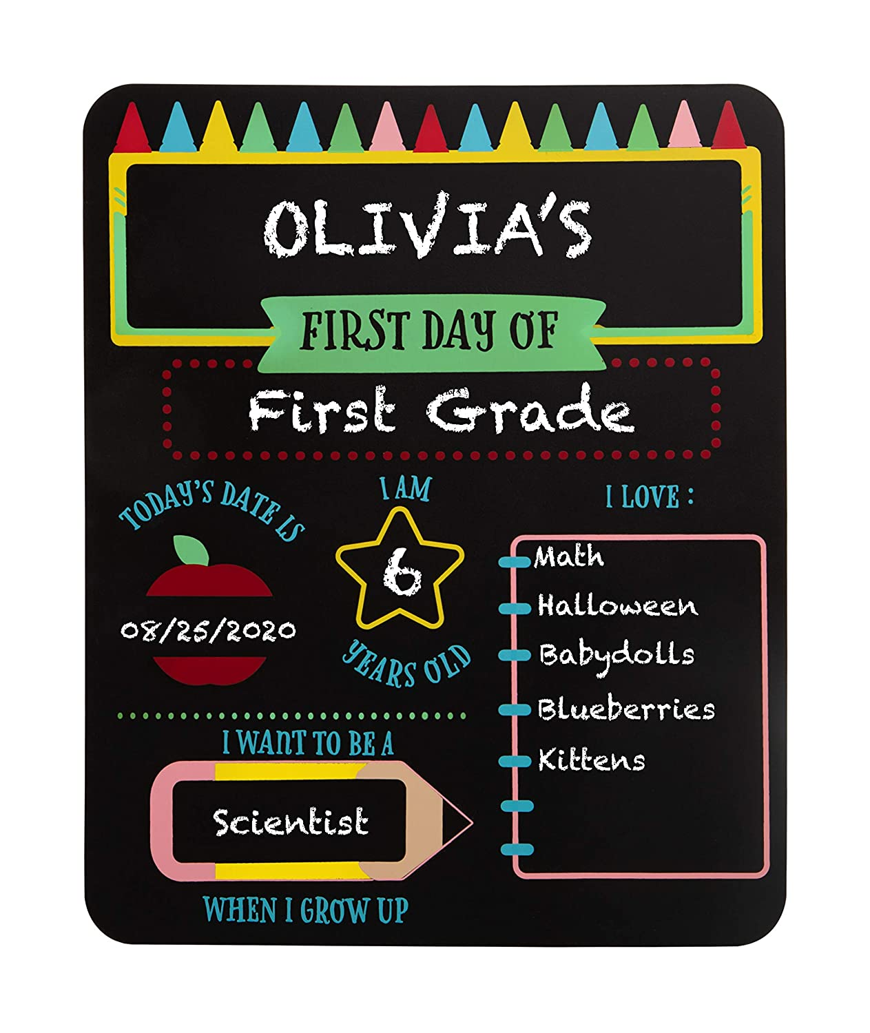 Pearhead First and Last Day of School Reversible Chalkboard, Reusable Photo Sharing Prop with Included Chalk