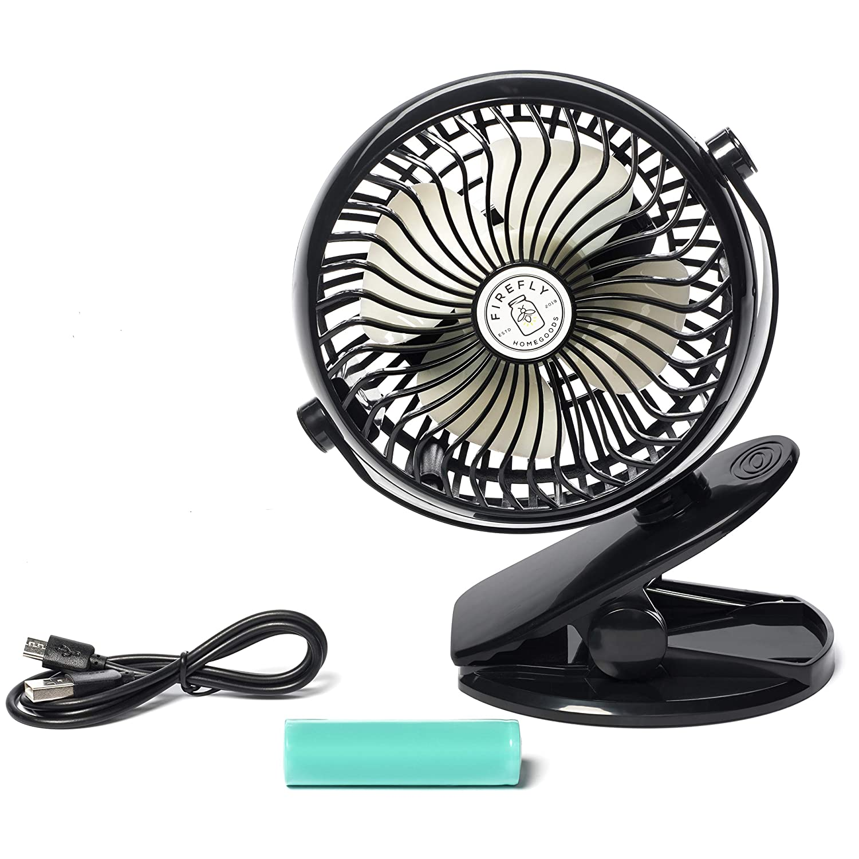 FireFly HomeGoods Clip On Fan – 3 Speeds – 3600 mAh Lithium Rechargeable Battery Operated Fan – 5in Personal Portable Fan – Stroller Fan Clip On – USB Fan Ultra Quiet Mini Fan – 360 Degree Rotation