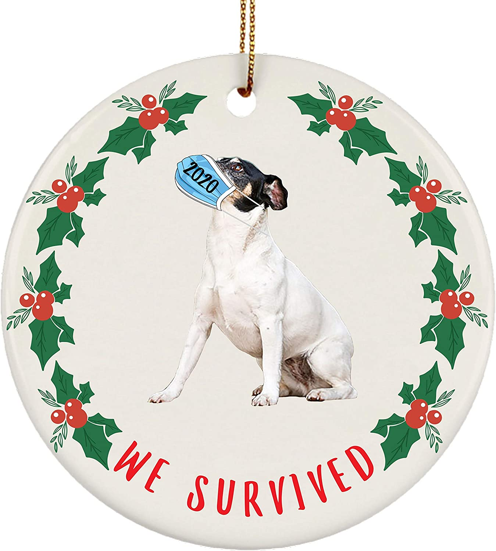 Lovesout We Survived 2020 Quarantine Rat Terrier White Christmas Tree Ornament Circle Ceramic