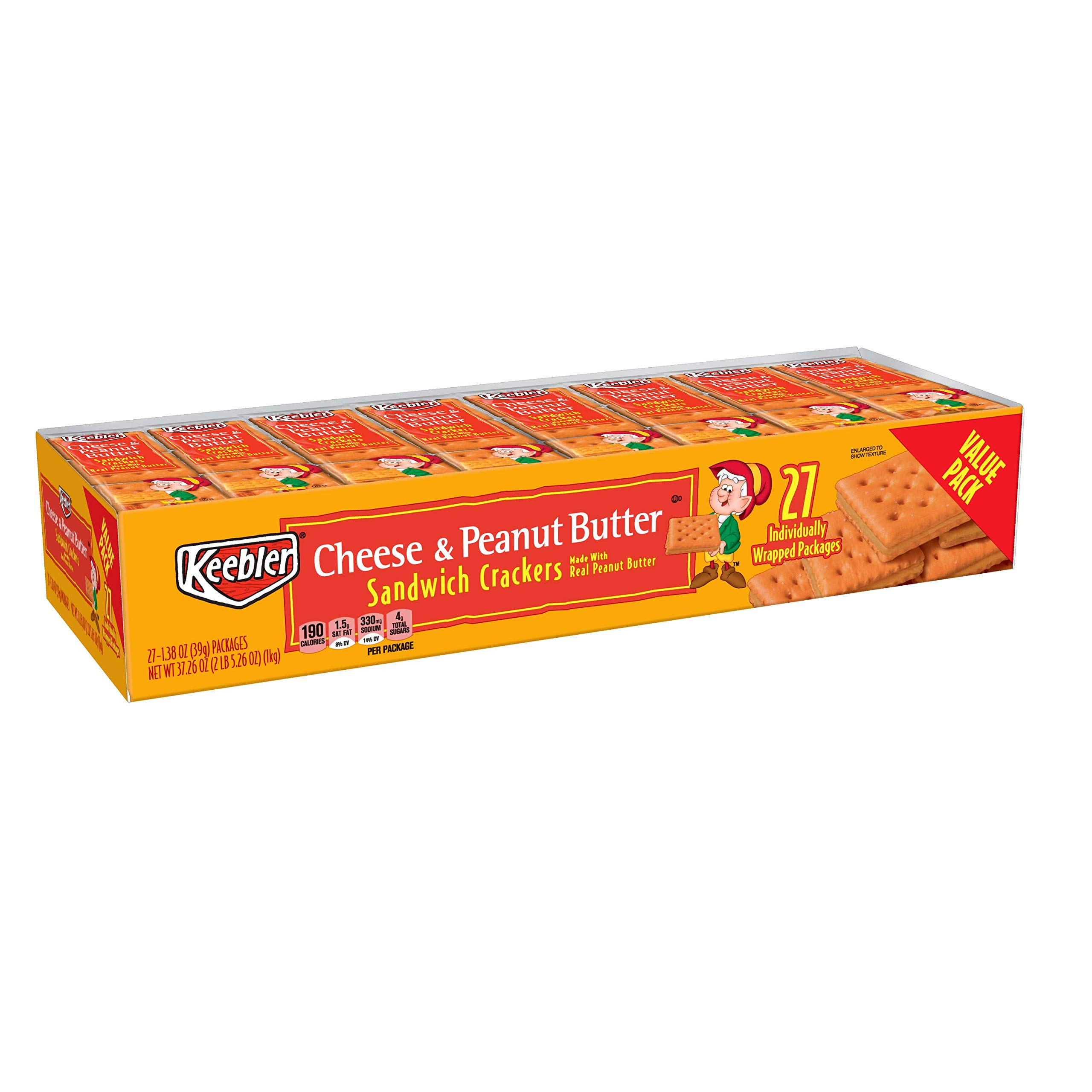 Keebler Value Pack Cheese and Peanut Butter Sandwich Crackers, 4 Count