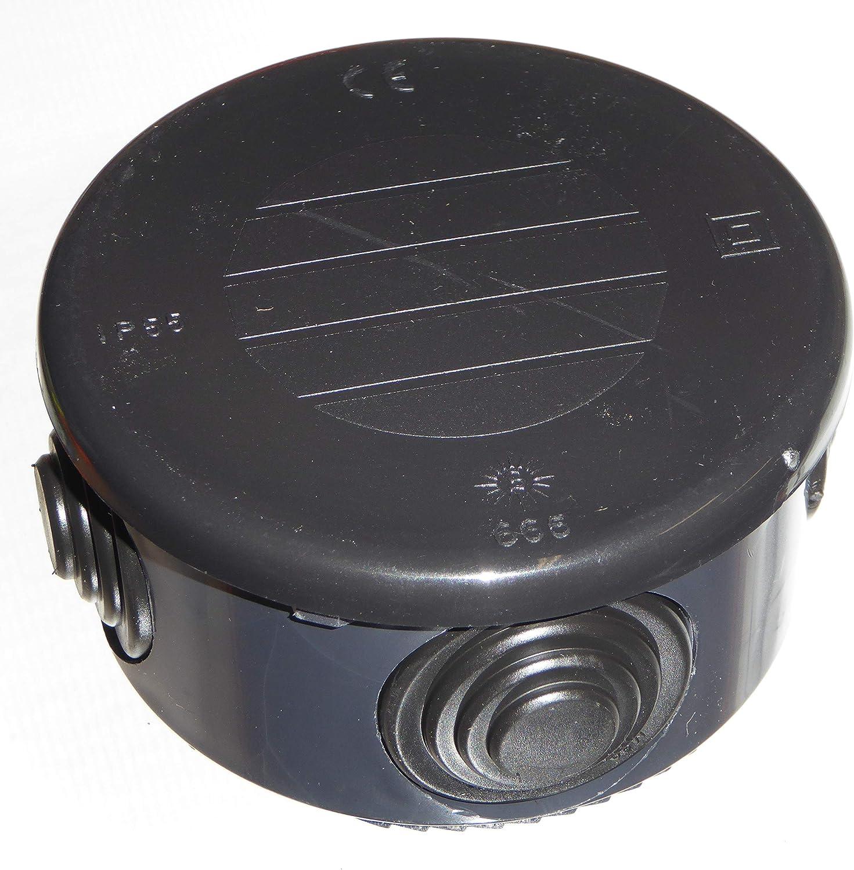 color negro 8 unidades, 70 mm, IP55 IK07 Wiska WIB6 Caja de conexiones vac/ía redonda