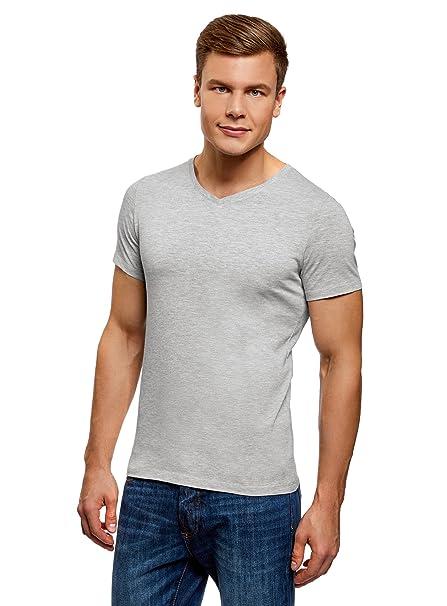 oodji Ultra Hombre Camiseta de Algodón con Cuello Pico 7WIfn6ZO