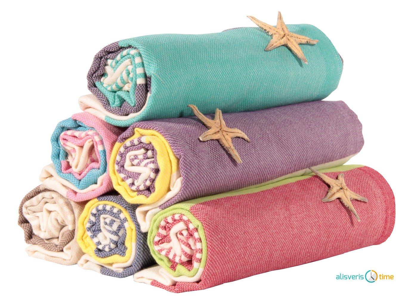 Sale Set of 6 XL Turkish Hamam Peshtemal Cotton Bath Face Towel Spa Bath USA