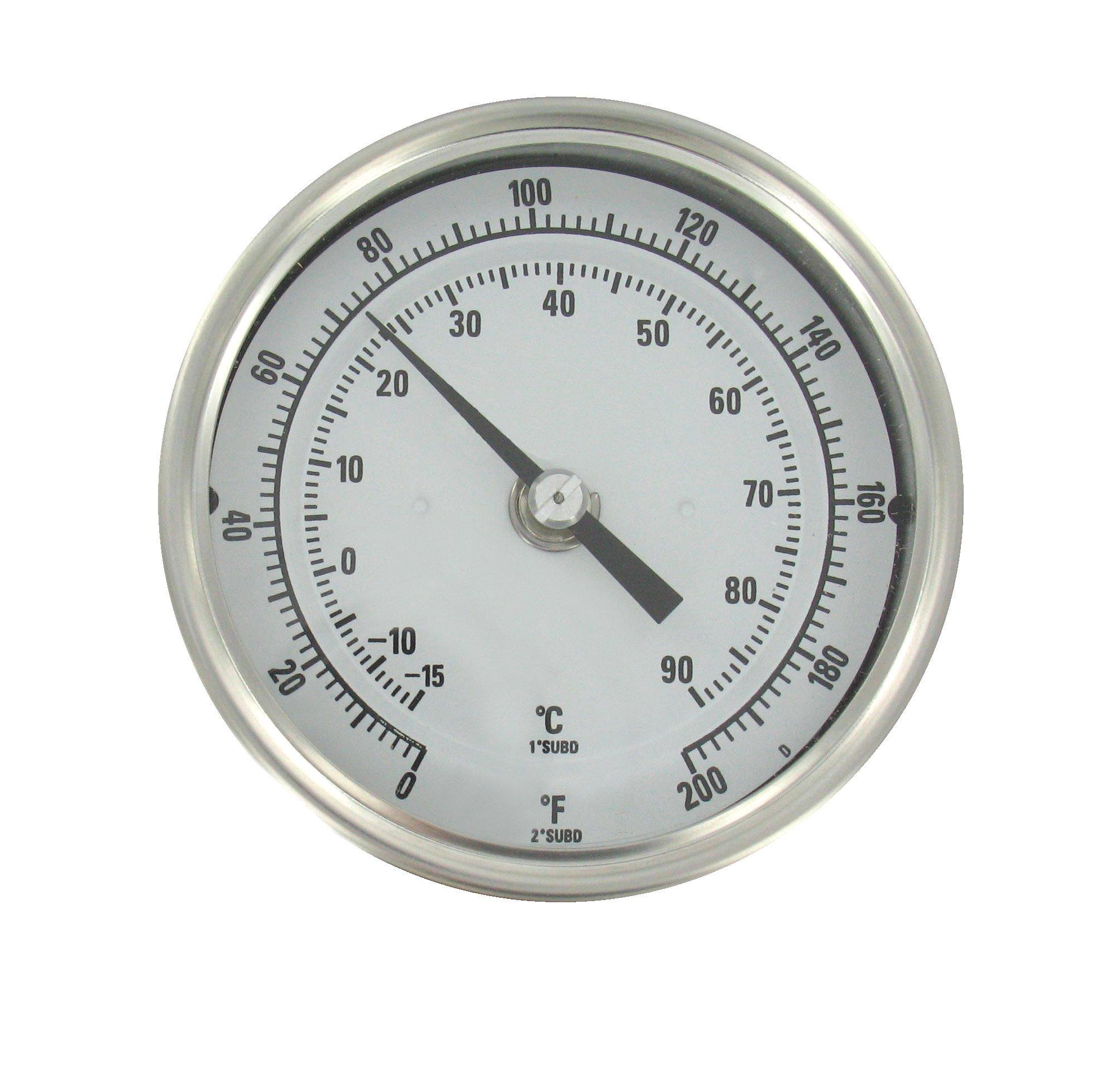 Dwyer® Long Reach Bimetal Thermometer, BTLRN348101, 0-200°F, 48'' Stem
