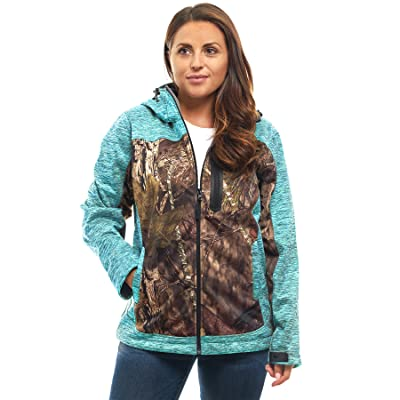 TrailCrest Women's Softshell Hooded Jacket - Super Soft Plush Coral Fleece Lining - Mossy Oak Camo Patterns