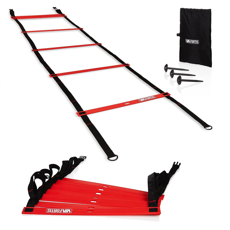 Scaletta di Allenamento, Agilità e Velocità di VIA FORTIS | Speed & Agility Ladder Modulabile 6m o 2x3m | Scala per Esercizi, Calcio, Basket, Fitness, Tennis, Arti Marziali | Con Pioli e Sacchetto