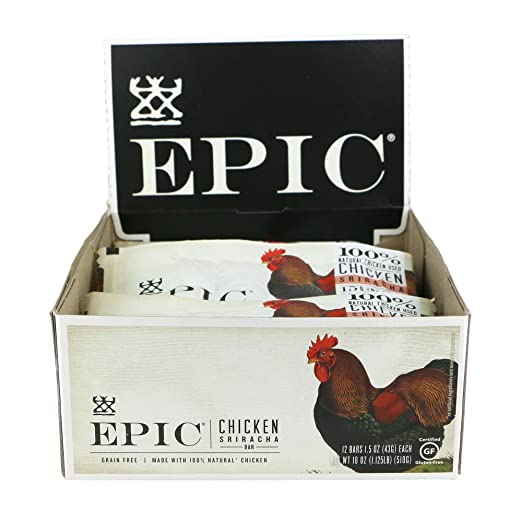 Epic All Natural Meat Bar, Chicken, Sriracha, Low-Carb, 1.5 oz. (12 Count) best paleo bars