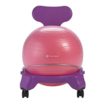 Review Gaiam Kids Balance Ball Chair - Classic Children's Stability Ball Chair, Child Classroom Desk Seating