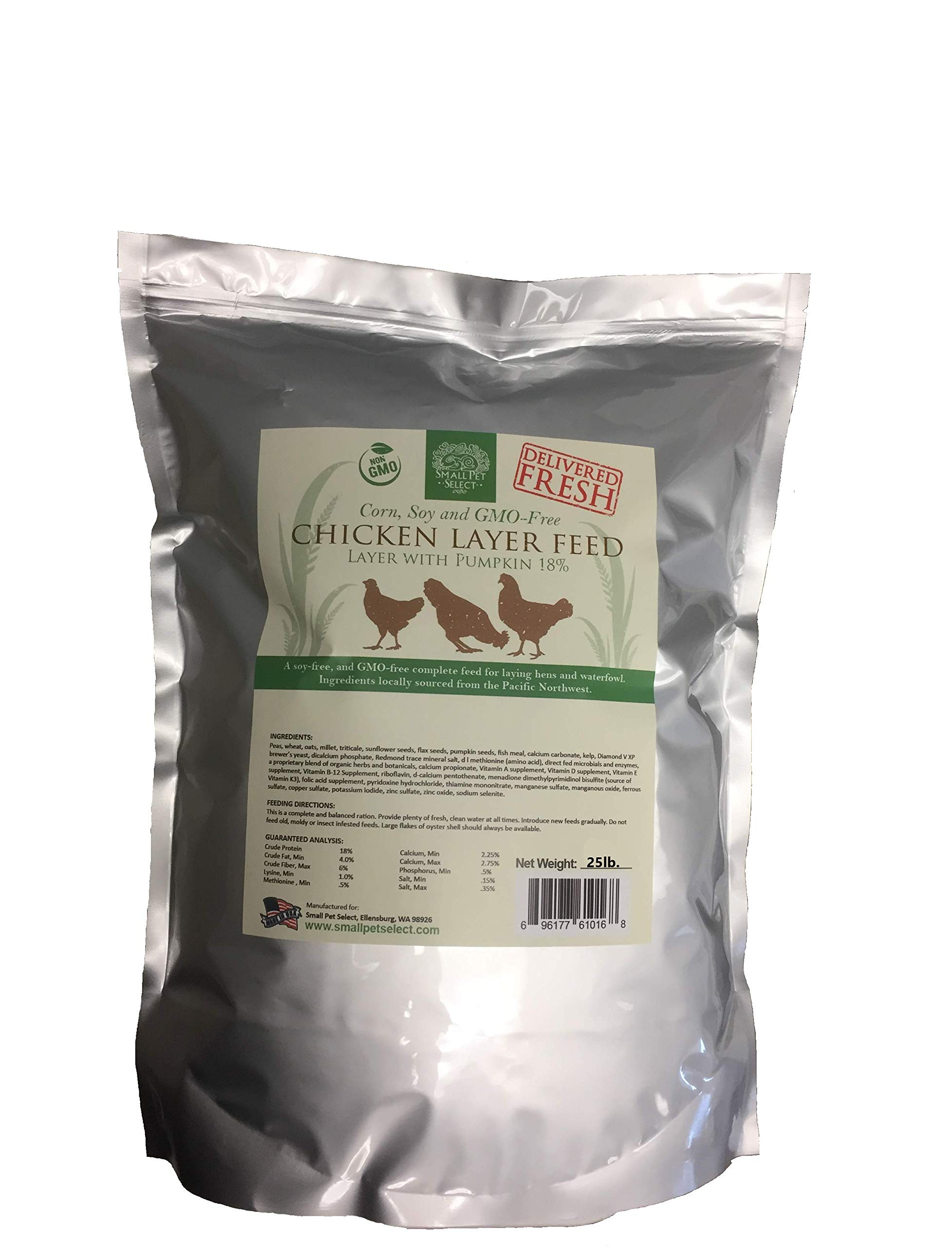 Small Pet Select Chicken Layer Feed. Non-GMO, Corn Free, Soy Free. Locally Sourced In The Pacific Northwest. Made in Small Batches Ensuring The Highest Quality Product, 25 lb by Small Pet Select