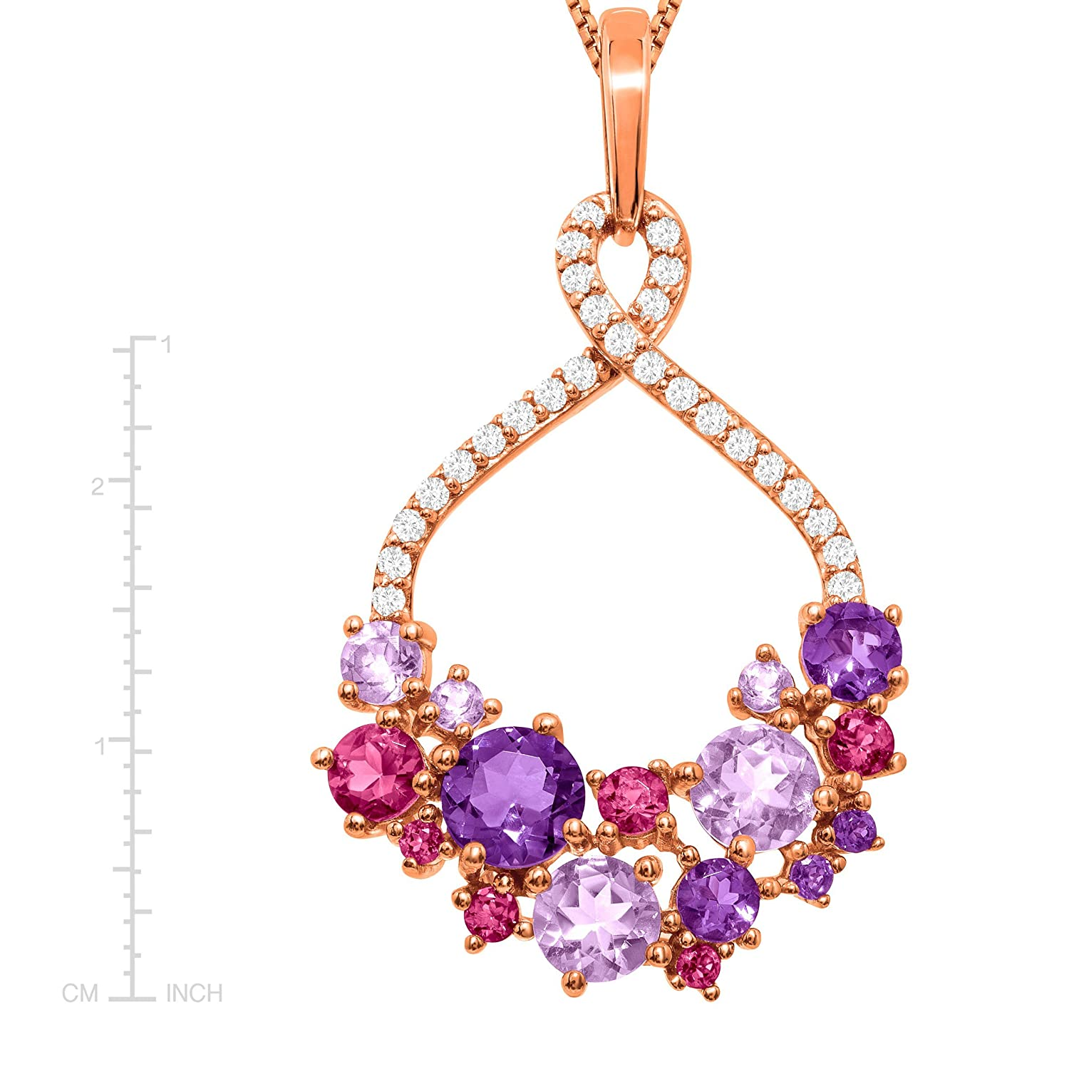 2 1//3 ct Natural Amethyst /& Pink Tourmaline Pendant Necklace in 18K Rose Gold-Plated Sterling Silver